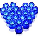 Rakumi Blue LED Candles, Flameless Flickering Blue LED Tea Light Candles, Battery Opearted LED Votive Candles for Wedding Bir