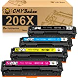 CMYBabee Compatible Toner Cartridge Replacement for HP 206X W2110X W2111X W2112X W2113X for HP Color LaserJet Pro M255dw MFP