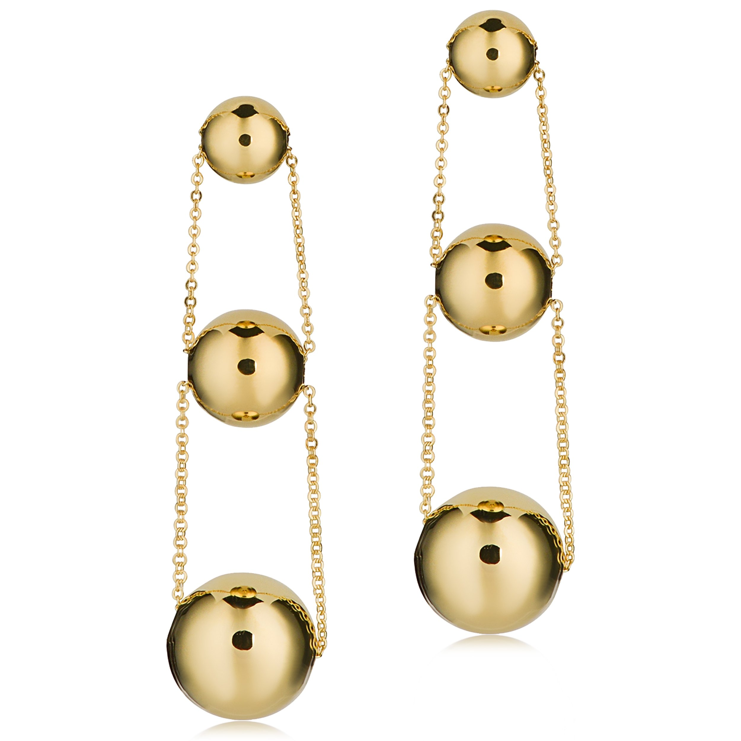 14k Yellow Graduated Ball Drop Earrings