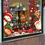 XIMISHOP 82PCS Christmas Snowflake Window Clings Stickers for Glass, Xmas Decals Decorations Holiday Snowflake Santa Claus Re