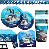 177 Piece Shark Party Supplies Set Including Banner, Plates, Cups, Napkins, Tablecloth, Spoon, Forks, and Knives, Serves 25