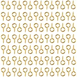 HUIHUIBAO 100 Pieces Small Screw Eyes Pin Hook for Jewelry for Jewelry Making Findings DIY Crafts, 6 x 13mm (Gold)