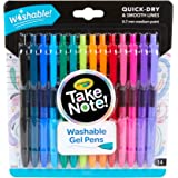 CRAYOLA 58-6414 Take Note! Washable Gel Pens, Quick Dry, 14 Pack, Smooth 0.7mm Medium Tip, 14 Fashion Bright Colours, Back to