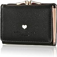 ミニ財布 レディース 人気 - KQueenstar 小さい 三つ折り 財布 がま口 カワイイ レザー コンパクト ハート ウォレット カード小銭入れ 女性用 プレゼント 7カラー