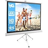 """Pyle PRJTP52 50"""" Video Projector Screen, Easy Fold-Out & Roll-Up Projection Display, Tripod Stand Style"""