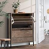 Artiss 12 Pairs Shoe Cabinet Industrial 2-Tier Adjustable Shoe Rack Shelves, Wood