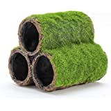 Penn Plax Hideaway Pipes Aquarium Decoration Realistic Look with Green Moss Like Texture | Fun for Fish and adds a to The Tan