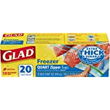 Glad Zipper Freezer Bags - Quart Size, 20s