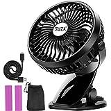 Stroller Fan Clip on Fan Rechargeable Battery Operated Fan - Powerful Airflow Low Noise - SWZA Portable Clip Fan for Baby Str