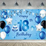 Happy 18th Birthday Backdrop Banner Extra Large Fabric Blue 18th Birthday Sign Poster Photography Background Backdrop Banner