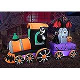 7 Foot Long Lighted Halloween Inflatable Grim Reaper Ride Train with Tombstone Cat Bat Pumpkin Indoor Outdoor Yard Art Decora