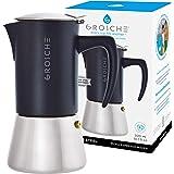 GROSCHE Milano Steel 6 Cup Stainless Steel Stovetop Espresso Maker Moka Pot - Cuban Coffee Maker Italian Espresso Greca Coffe