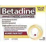 Betadine Anaesthetic Lozenges - Triple Action Sore Throat Lozenges - Numbs a Painful Sore Throat Fast, Honey & Lemon, 36 Pack