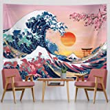 Ocean Wave Tapestry Sunset Tapestry Wall Hanging Japanese Kanagawa Tapestry Great Wave Cherry Blossom Nature Backdrop Tapestr