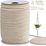 Macrame Cord 4mm x 220 Yards, Macrame Rope, Natural Cotton Macrame String for Crafting Macrame Supplies, Plant Hangers, Knitt