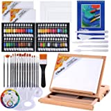 Acrylic Painting Set, Ohuhu 78pcs Artist Set with Wood Table-Top Easel Box, Art Painting Brushes, Acrylic Paint Tubes, and Ac
