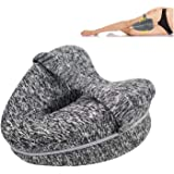 Knee Pillow for Side Sleepers, TERSELY Orthopedic Memory Foam Wedge Contour,Leg Positioner Pillows Leg Pillow for Back, Hip,