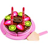 Hape E3140 - Double Flavored Birthday Cake Wooden Play Food Set L: 7.6, W: 7.6, H: 4.4 inch