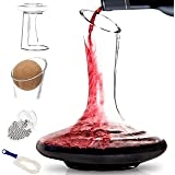 BTäT- Decanter with Drying Stand, Stopper, Brush and Beads, Hand Blown 100% Lead Free Crystal Glass, Wine Decanter, Wine Cara