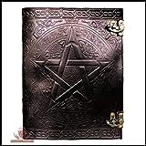 Natural Handicraft Handmade Black Pentagram Embossed Leather Journal Pentacle Book of Shadows Notebook Diary Appointment Orga