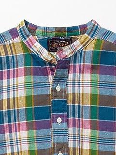 Madras Band Collar Shirt 11-11-3215-139: Pink