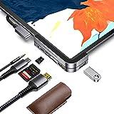 Invisible USB C Hub for iPad Pro, iPad Pro 2018 Docking Station Stouchi 6 in 1 iPad Pro Dongle Adapter- USB 3.1 (5Gb/s), 4K H