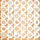 Konsait 36Pack Cookie Stencil Baking Templates Cake Decorating Stencil Drawing Templates Journal Supplies Plastic Painting Mo