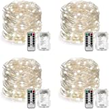 YIHONG 4 Set String Lights Battery Operated Fairy Lights Waterproof 8 Modes 16.4FT 50 LED String Lights Twinkle Fairy Lights