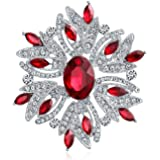 Fashion Large Statement Vintage Style Blue Green Red White Crystal Scarf Flower Brooch Pin for Women for Mother Silver Plated