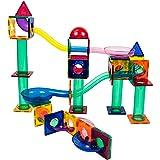 PicassoTiles 70 Piece Marble Run Race Track Magnetic Tiles Magnet Building Block Educational Construction Toy Set Playset STE