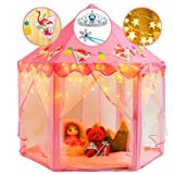 crayline Princess Tent for Girls with LED Star Lights, Play Tent for Girls Birthday Gifts Playhouse for Kids, Toys for 1 Year