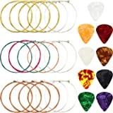 3 Sets Acoustic Guitar Strings Replacement Steel Guitar Strings (Gold, Brass, Multicolor) with 9 Pieces Celluloid Guitar Pick