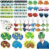 64pcs JoyJon Dinosaur Party Favor Party Supplies Dinosaur Keychains, Rings, Slap Bracelets, Temporary Tattoos, Masks for - Id
