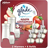 Glade PlugIns Refills Air Freshener Starter Kit, Scented Oil for Home and Bathroom, Apple Cinnamon, 4.02 Fl Oz, 2 Warmers + 6