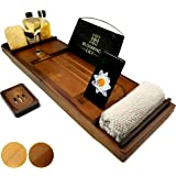 Blooming Lily Bathtub Tray - Sturdily Designed Bath Caddy with Wine Glass Holder, Ipad Stand and More Suitable for Most Baths