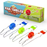 Retro Magic Rail Twirler - 3 Pack - Light Up Magnetic Toy For Kids Boys Girls - Fun Sensory Toy With Spinning Wheel and Flash