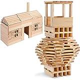 Smart Builder Wooden Planks Building Blocks for Kids - 300 Piece Natural Wood Planks Building Set