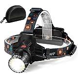 [NEWEST Technology]Led Headlamp Flashlight -T6 Spot(Zoomable)+COB Board Flood Light,10 Hours Long Lasting,High Lumen Waterpro