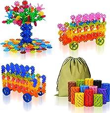 ColorGo ブロック おもちゃ カラフル 積み木 セット 子供 女の子 男の子 プレゼント 立体パズル オモチャ (570ピース+車 2台分タイヤ)