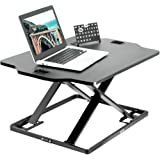 VIVO Black Single Top Height Adjustable 27 Inch Standing Desk Converter, Sit Stand Tabletop Monitor Laptop Riser Workstation