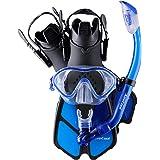 Snorkeling Gear for Kids Including Adjustable Fins + Dry Snorkel + Tempered Glass Lens Mask + Net Bag Age 5-12