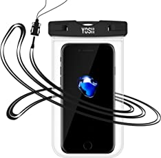 防水ケース スマホ用 YOSH防水携帯ケースiPhone X/8/7/6/Plus 透明パックiPhoneとAndroid 6インチ以下全機種対応 ネックストラップ付属 IPX8認定 潜水/お風呂/水泳/海水浴/温泉など適用 水中撮影 永久保証