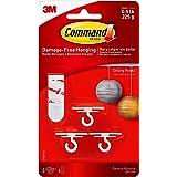 Command Ceiling Hooks (3 Hooks, 4 Foam Strips per Pack), White, 4 Packs Total, 17008-ES