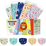 Kids Face Mask Disposable Protection,3 Layer Non-Woven Breathable Facial Cover Masks with Elastic Earloop,Cartoon Print Mouth