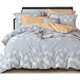 Essina Cotton Double Bed Quilt Cover Duvet Cover Doona Cover Set 3pc Valencia Collection 620 Thread Count, Pillow Sham, Daisy