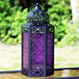 Large Moroccan Candle Lantern with Purple Glass