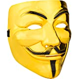 Diximus Halloween Masks - V for Vendetta Mask Anonymous Guy Fawkes Hacker Mask for Women Man Kids - Gold