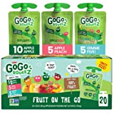 GoGo squeeZ Applesauce on The Go, Variety Pack (Apple Apple/Apple Peach/Apple Gimme 5), 3.2 Ounce (20 Pouches), Gluten Free,