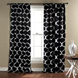 Lush Decor Geo Room Darkening Window Curtain, 84 by 52-Inch, Black, Set of 2