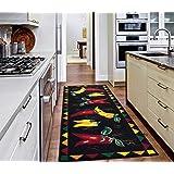 "Ottomanson Siesta Collection Kitchen Hot Peppers Design (Non-Slip) Runner Rug, 20"" x 59"", Black"